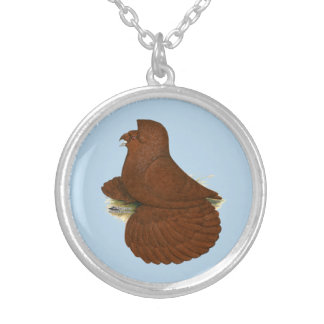 Trumpeter Pigeon Red Silver Plated Necklace