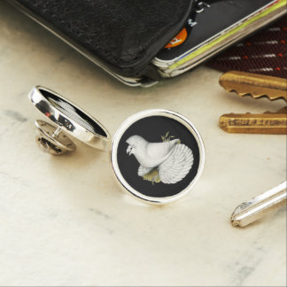 Trumpeter Pigeon White Lapel Pin