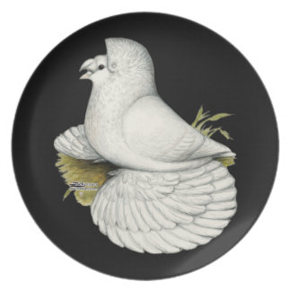 Trumpeter Pigeon White Plate