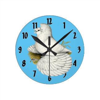 Trumpeter Pigeon White Round Clock