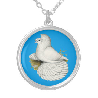 Trumpeter Pigeon White Silver Plated Necklace