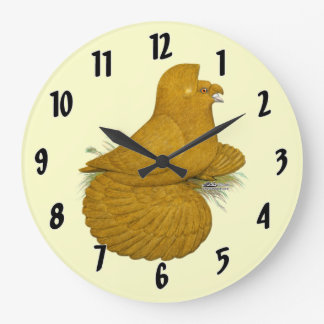 Trumpeter Pigeon Yellow Self Large Clock
