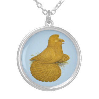 Trumpeter Pigeon Yellow Self Silver Plated Necklace