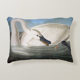 Trumpeter swan by John James Audubon Accent Pillow