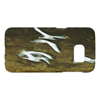 Trumpeter Swans in Flight Abstract Impressionism Samsung Galaxy S7 Case
