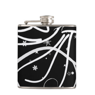 trumpeting angel in black and white hip flask