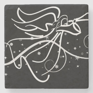 trumpeting angel in black and white stone coaster