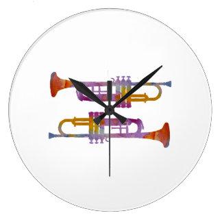 Trumpets Large Clock