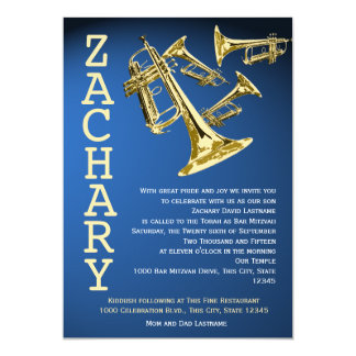 Trumpets Music Blue Gold Bar Mitzvah Card