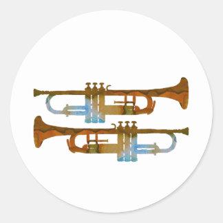 Trumpets Round Sticker