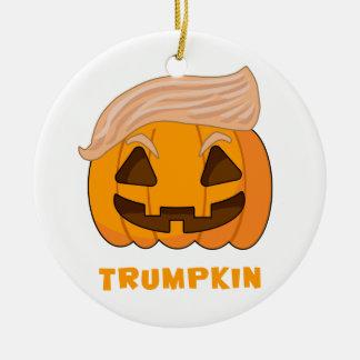 Trumpkin Donald Trump Pumpkin Round Ceramic Ornament