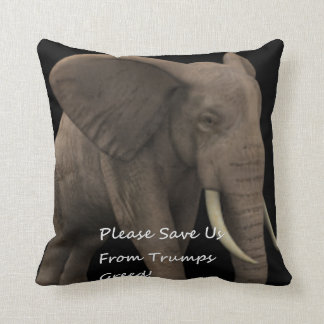 Trumps Greed. Throw Pillow