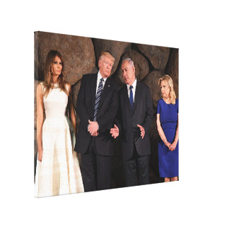 Trumps & Netanyahus At Yad Vashem In Jerusalem Canvas Print