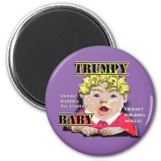 Trumpy Baby Round Magnet