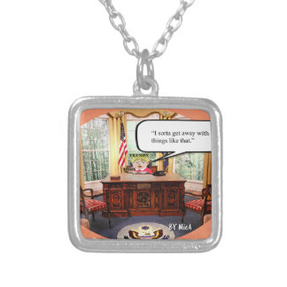 Trumpy Baby Say's- Silver Plated Necklace - Square