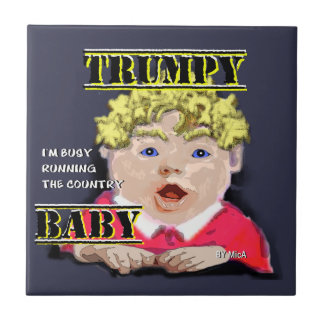 "Trumpy Baby - Tile -Small (4.25"" x 4.25"")"