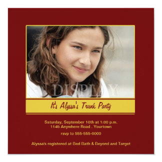 Trunk Party Maroon and Gold Photo Invitation