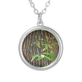 Trunk with Foliage Silver Plated Necklace
