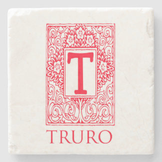 Truro Red Monogram  Stone Coaster