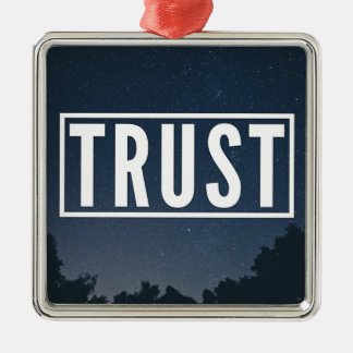 Trust hipster typography metal ornament