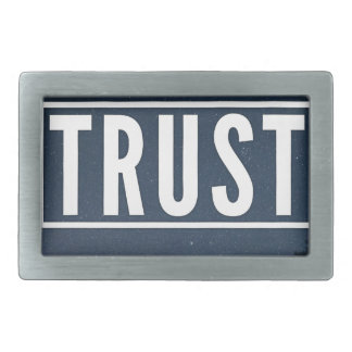 Trust hipster typography rectangular belt buckle