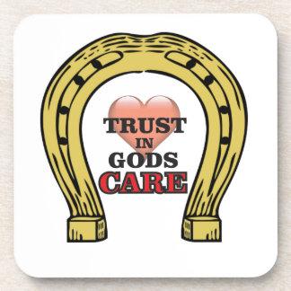 trust in Gods care heart Beverage Coasters