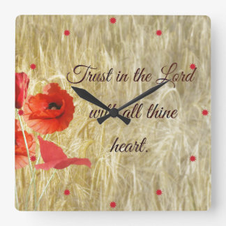 Trust in the Lord Bible Verse Square Wall Clock