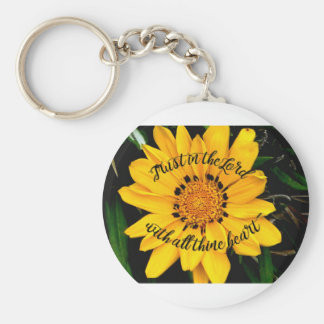 Trust in the Lord Bright Yellow Flower Basic Round Button Keychain