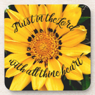 Trust in the Lord Bright Yellow Flower Coaster