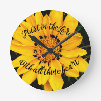 Trust in the Lord Bright Yellow Flower Round Clock