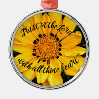 Trust in the Lord Bright Yellow Flower Silver-Colored Round Ornament
