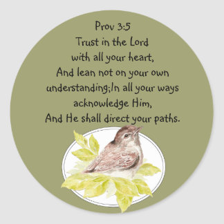 Trust in the Lord Scripture with Watercolor Bird Classic Round Sticker