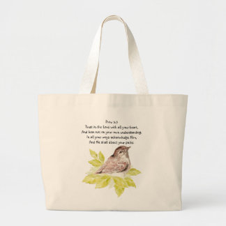 Trust in the Lord Scripture with Watercolor Bird Large Tote Bag