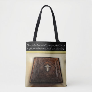 Trust in the Lord with a abstract Bible. Tote Bag