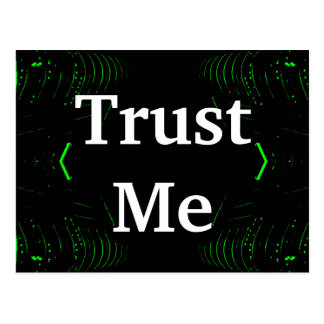Trust Me Design White on Black Postcard