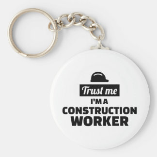Trust me I'm a construction worker Basic Round Button Keychain