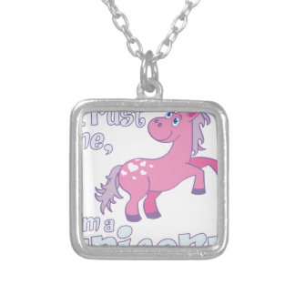 trust me i´m a unicorn silver plated necklace