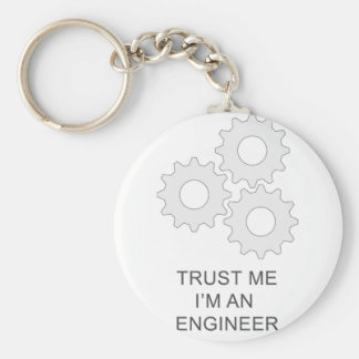 TRUST ME I'M AN  ENGINEER BASIC ROUND BUTTON KEYCHAIN