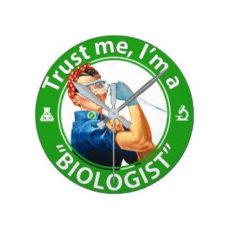 "Trust me, I'm a ""Biologist"" logo wall clock"
