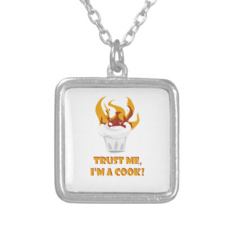 Trust me i'm a cook! silver plated necklace