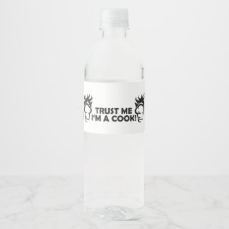 Trust me i'm a cook! water bottle label
