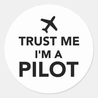 Trust me I'm a Pilot Round Sticker