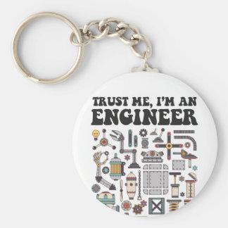 Trust me, I'm an engineer Basic Round Button Keychain