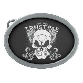 Trust Me Smiling Skull and Wings Belt Buckles