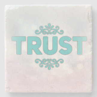 """Trust"" on Beautiful Stone Coaster"