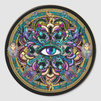 Trust Yourself ~ The Eyes of the World Mandala Classic Round Sticker