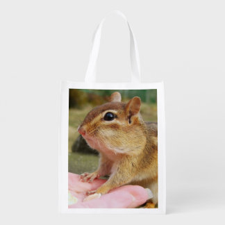 Trusting Chipmunk with Peanuts Reusable Grocery Bag
