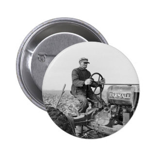 Trusty Old Tractor, 1930s 2 Inch Round Button