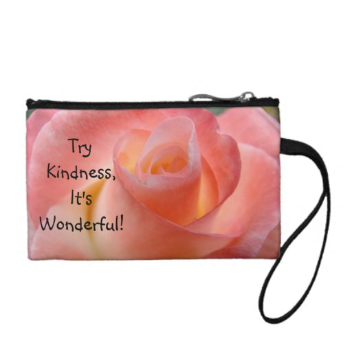 Try Kindness It's Wonderful Coin Purse Pink Rose