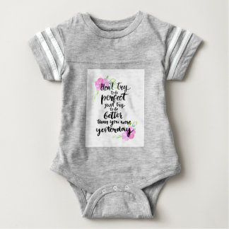 Try to Be Better Than Yesterday - Watercolor Print Baby Bodysuit